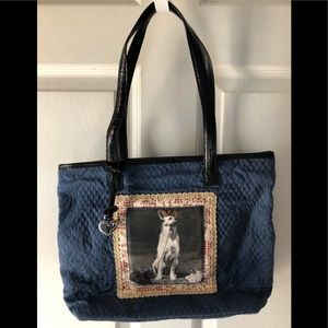 Brighton dog print denim color shoulder bag